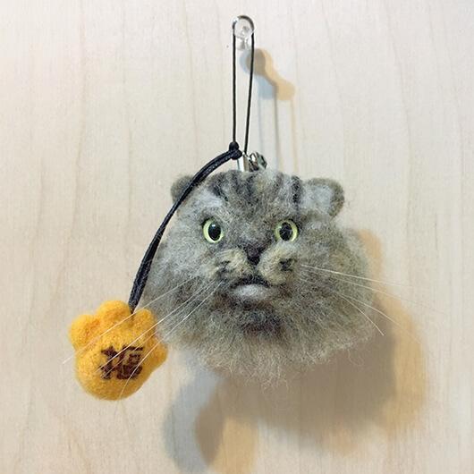 羊毛氈喵喵手機吊飾-摳摳