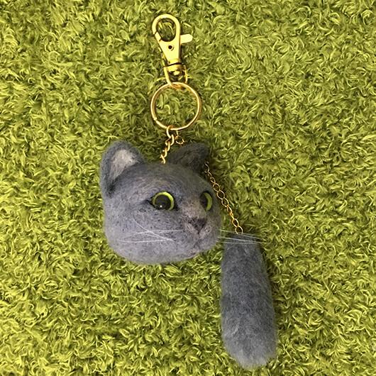 羊毛氈英短貓頭部鑰匙圈加尾巴
