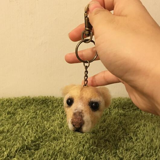 羊毛氈狗狗鑰匙圈