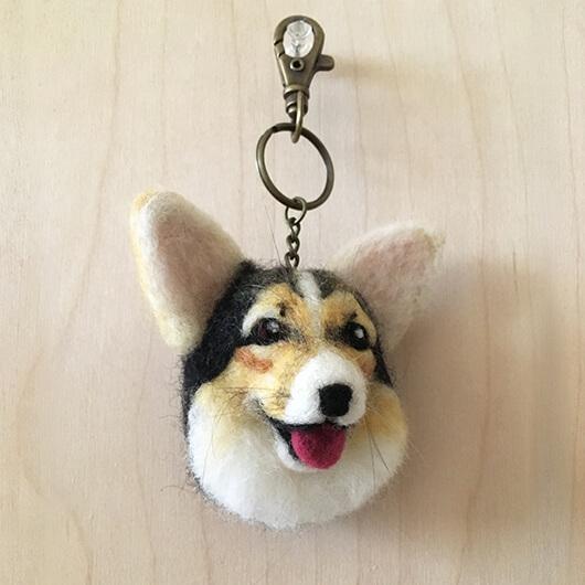 羊毛氈柯基鑰匙圈-Mochi