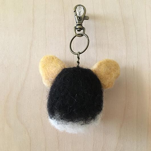 羊毛氈柯基鑰匙圈-Latte