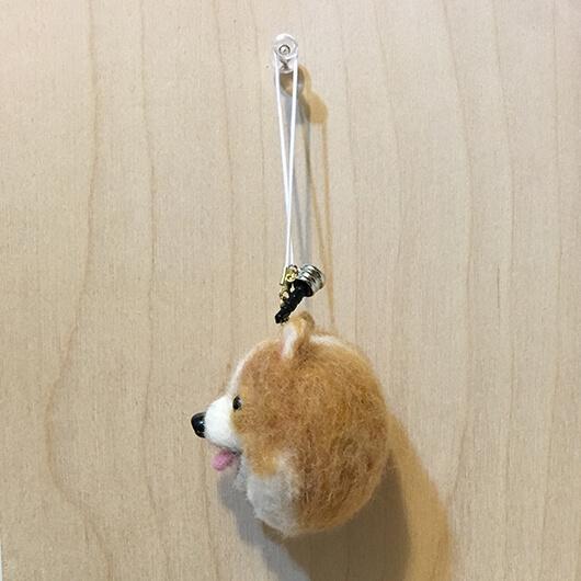 羊毛氈博美手機吊飾