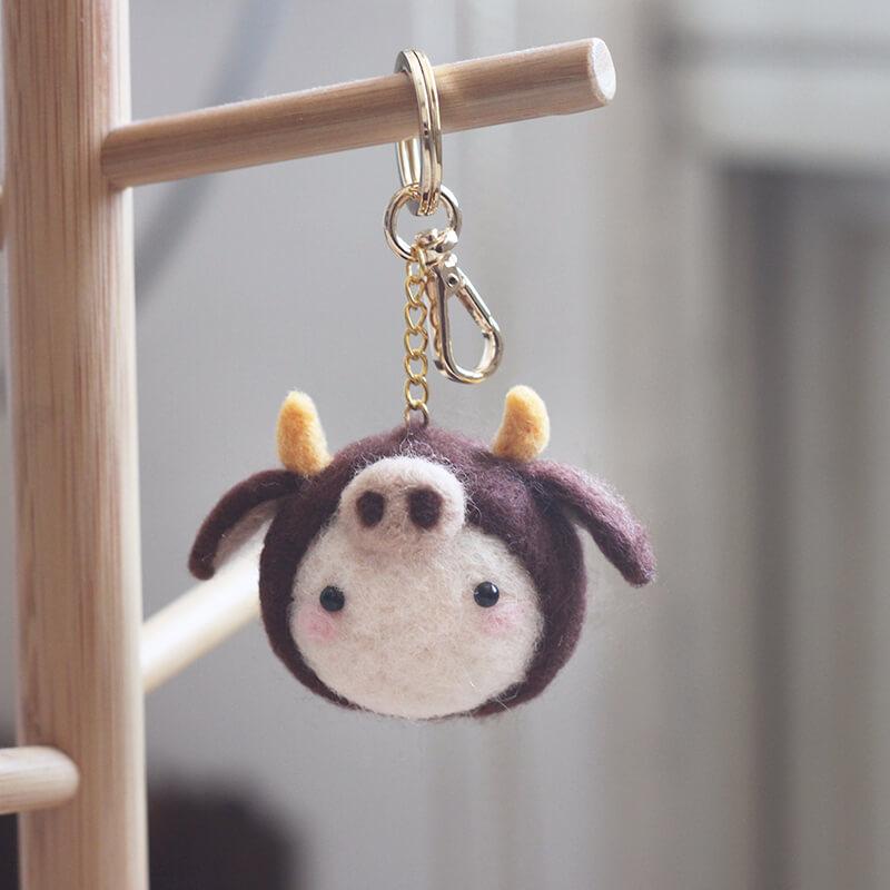 耐性可靠金牛座羊毛氈鑰匙圈材料包