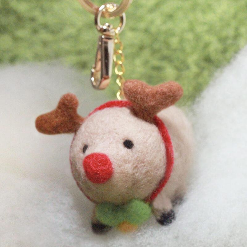 圓滾滾聖誕肥麋鹿羊毛氈鑰匙圈材料包