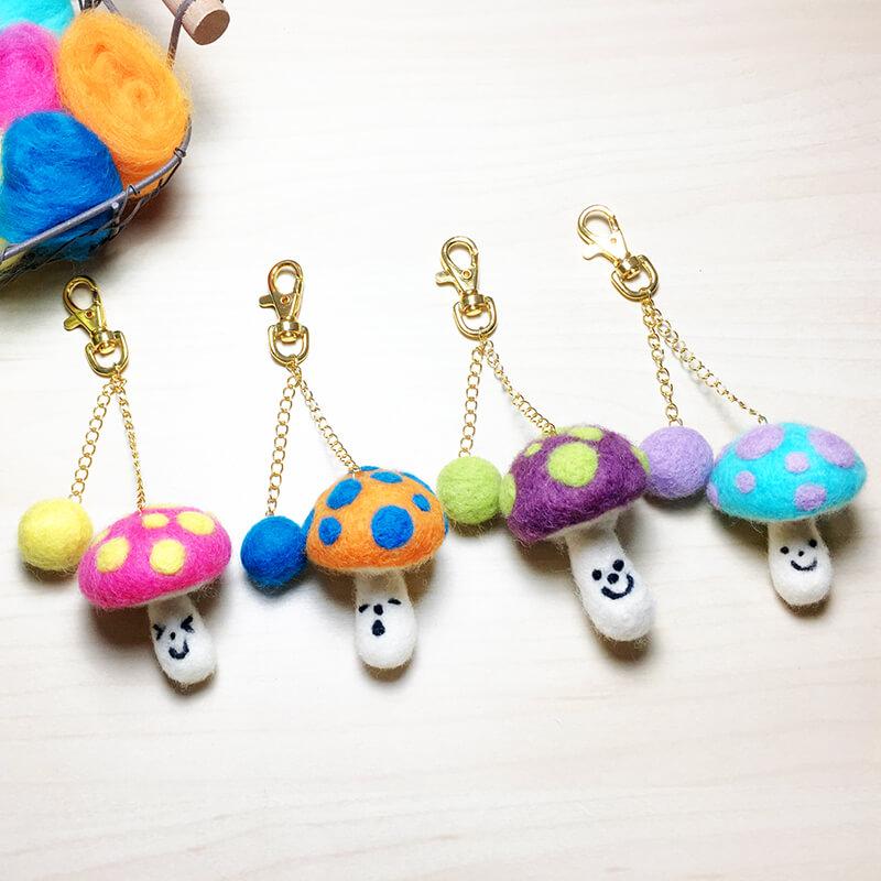 羊毛氈繽紛微笑蘑菇鑰匙圈材料包