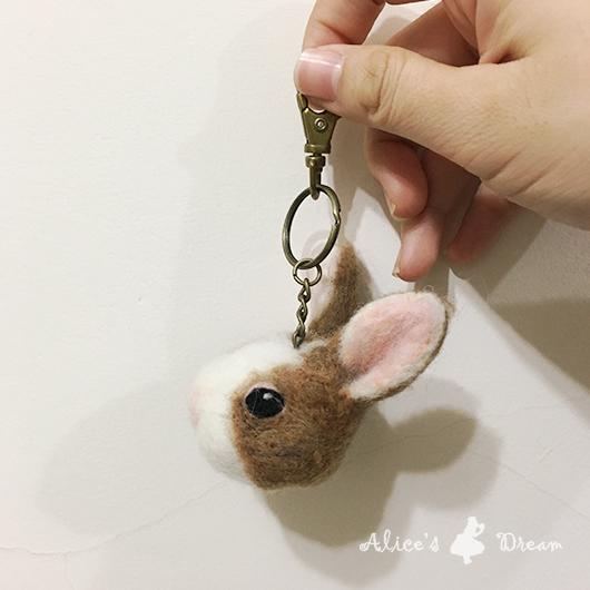 羊毛氈兔兔頭部鑰匙圈-Felt Making