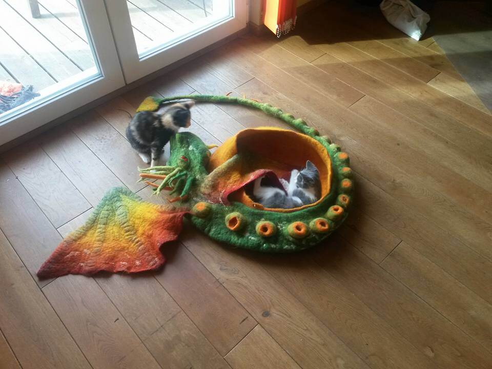 【分享】龍造型羊毛氈貓窩