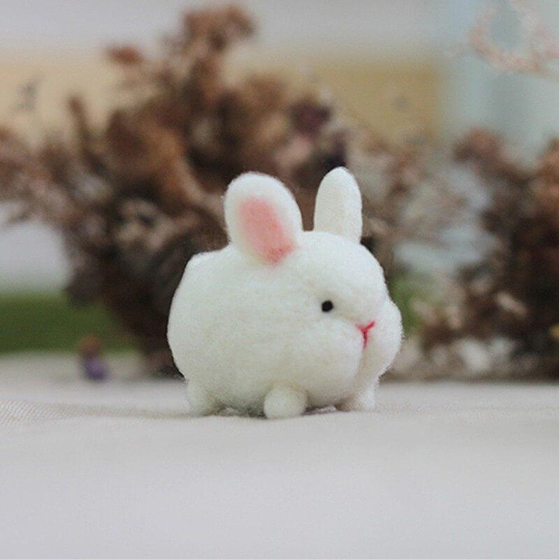 森林小白兔羊毛氈鑰匙圈材料包【附影片教學】