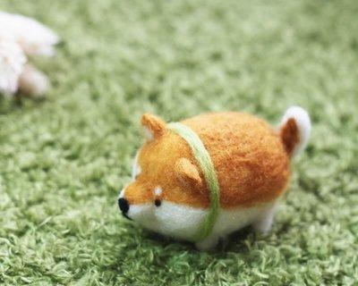 圓滾滾可愛胖柴羊毛氈鑰匙圈材料包【附影片教學】