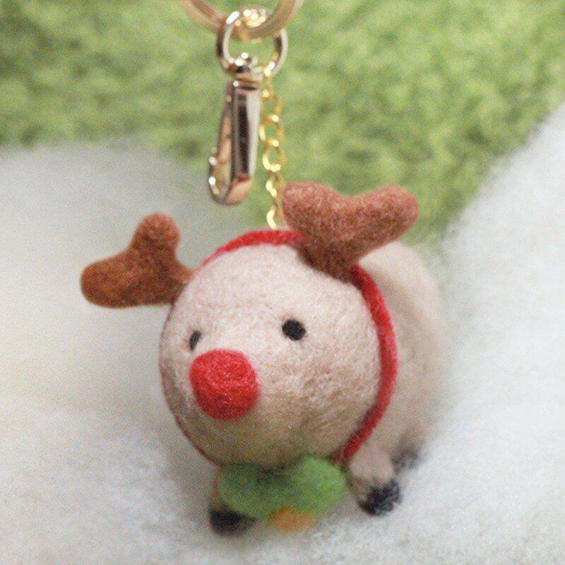 圓滾滾聖誕肥麋鹿羊毛氈鑰匙圈材料包【附影片教學】